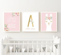 Pink Floral Llama Nursery Art Print Set Printable | Etsy Nursery Prints, Nursery Art, Girl Nursery, Nursery Decor, Wall Art Prints, Llama Print, Llama Gifts, Baby Monogram, Baby Decor