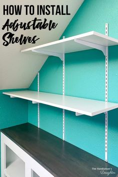Learn how to install adjustable wall mounted shelving to maximize your storage space! These easy to install wall shelves are ready to go in minutes! Get the tutorial at The Handyman's Daughter! Basement Shelving, Pantry Shelving, Diy Garage Shelves, Cupboard Storage, Wall Shelves Design, Diy Wall Shelves, Wall Mounted Shelves, Storage Shelves, Easy Shelves