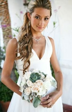 accessories, beauty, floral, dress, bouquet, white, a-line, v-neck, earring, necklace, ring, half, natural, real, elegant, dresses, flowers, hair, hairstyles, make, wedding