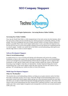 Techno Softwares Singapore provides Software Development, Mobile Apps and Application Development, web designing and development with SEO service by best SEO Experts and internet marketing service in singapore. www.technosoftwares.sg
