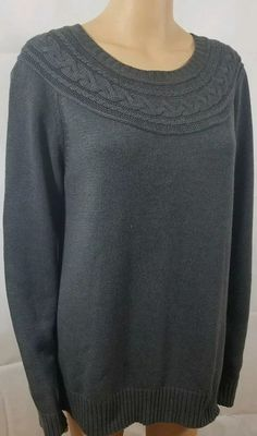 9404a8209c Details about Sonoma Women s Pullover Sweater Shirt Size 1X Gray Cable Knit  Cotton