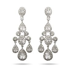 Dazzling teardrop & oval cubic zirconia chandelier earrings, perfect for adding glam to any outfit! Complimentary gift box included with order.