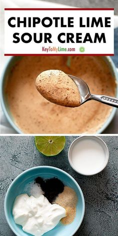 Chipotle sour cream is such an easy and delicious way to elevate your next Mexican food night! Chipotle lime cream sauce is a little spicy and so flavorful. Vegan Recipes Beginner, Healthy Low Carb Recipes, Mexican Food Recipes, Vegetarian Recipes, Cooking Recipes, Vegetable Recipes, Sauce Steak, Burritos, Starbucks Recipes