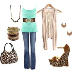 aqua leopard, created by tlenac on Polyvore