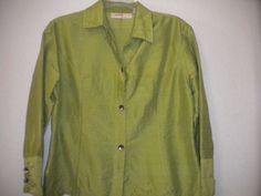 ANU By Natural Size Medium Green 100% Silk Button 3/4 Sleeve Women Blouse Top #ANUByNatural #ButtonDownShirt #Versatile