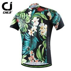 CHEJI Men Cycling Summer Short Sleeve Bicycle Sport  Jersey Top Retro pattern