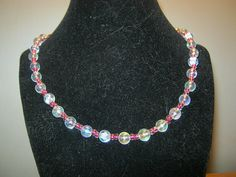 Pearlstyle necklace with pink beads 18 inches by carebear1984, $10.00