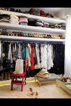 I like this idea for a closet! although maybe two walls so I could hang a few more items! Oh yeah and a long area for floor length dresses. Dressing Cupboard, Dressing Room Closet, Cupboard Wardrobe, Cupboard Storage, Dressing Rooms, Closet Vanity, Closet Collection, Dream Closets, Decoration