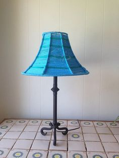 Macrame lamp shade cord blue macrame lamp shade lamp base not included hand wrapped polyolefin cord around wire greentooth Images
