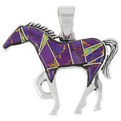 Classic Horse Pendant in Sterling Silver & genuine semiprecious gemstones, featuring Purple Turquoise and Lab-Created Opal . For more info about our gemstones, see our GEMSTONES CHART. Chain is not in