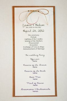 Wedding Program Rustic Style with Twine by AestheticJourneys