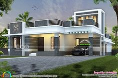 Lakhs cost estimated single floor flat roof modern home with 4 bedrooms by Rit designers, Kannur, Kerala. Single Door Design, Single Floor House Design, Modern Small House Design, Modern Exterior House Designs, House Front Design, House Paint Exterior, Flat Roof House, House With Porch, Indian House Plans