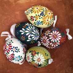 Floral Wax Decorated Easter Egg