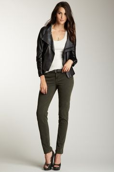 Moto Jacket with a White Tank Top, Olive Green Pants, and Peep-Toe Heels