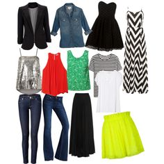 12 Closet Staples every girl must have. Skinny and flared denim jeans, sequin tank, colorful/printed tanks, t shirts, black boyfriend blazer, denim button down, little black dress, colorful skirt, black maxi skirt, and a print maxi dress... These are all easy to mix and match. Combine with a few unique fashion items to switch it up :)