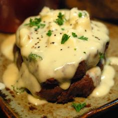 Filet with Gorgonzola Sauce. Uh, yes! Because anything with cheese is so much better !!