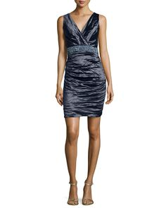 Sleeveless Embellished-Waist Dress, Navy - Nicole Miller