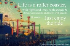 Life is like a roller coaster, with highs and lows, with speed and slows, with screams and blows, with dreams and woes...  Just enjoy the ride