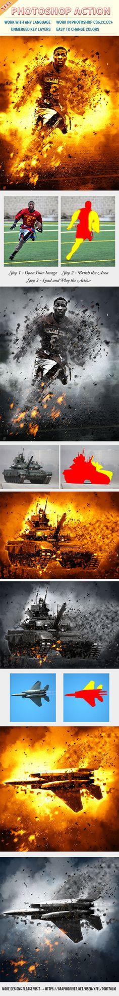 War Blast Scene Photoshop Action — Photoshop ABR #design #fragment • Available here → https://graphicriver.net/item/war-blast-scene-photoshop-action/19800177?ref=pxcr