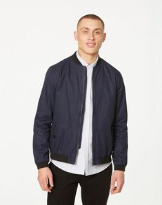 available in blue - Jacken Blouson Solid, Cotton (organic), Regular fit - sustainable materials and fair production In China, Bomber Jacket, Navy, Fitness, Cotton, Shopping, Fashion, Down Vest, Vegan Fashion