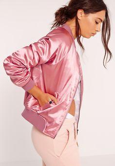 Premium Satin Bomber Jacket Pink - Missguided