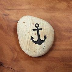 Engraved  Beach Pebble  Message Stone - Anchor Symbol