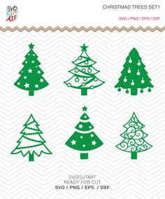 Christmas Trees Set1 SVG DXF PNG eps Winter Holidays new Year Cut File for Cricut Design, Silhouette studio, Sure A Lot, Makes the Cut by SvgCutArt on Etsy
