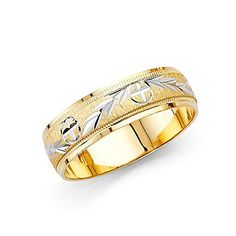 Wellingsale 14k Two 2 Tone White and Yellow Gold Polished Satin 6MM Diamond Cut Comfort Fit Wedding Band Ring - Size 9.5
