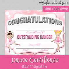 Dance Certificate  Print Your Own  Instant Download by MyFashionableDesigns