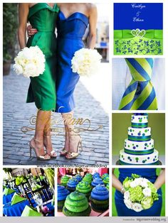 love the table decor and the cupcakes. wasn't thinking about white flowers but they are lovely || royal blue and lime green wedding color scheme