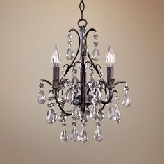 Castlewood Walnut Silver Finish Mini Chandelier - Takes three 60 watt candelabra bulbs (not included). @ lamps plus Bathroom Chandelier, Mini Chandelier, Chandelier Lighting, Bathroom Lighting, Entryway Chandelier, Hall Bathroom, Small Chandeliers For Bedroom, Master Bathroom, Bathrooms