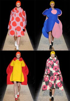 Rei Kawakubo never seizes to amaze and delight in all that she creates. Her A/W collection for 2012 was just that, a visual theatre of models in oversize f