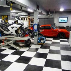 incredible epoxy painted garage floors with checkered design
