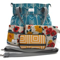 Diaper Bag Gift Set - Turquoise Arrow Diaper Bag - Turquoise Arrow Wipes Case - Fall Floral Diaper Clutch - Messenger Strap