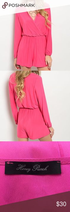 Honey Punch Pink Long Sleeve Romper Super cute romper by Honey Punch. Made in the USA. Shorts part is lined so they are not see through. Excellent Condition. Size small. Honey Punch Pants Jumpsuits & Rompers