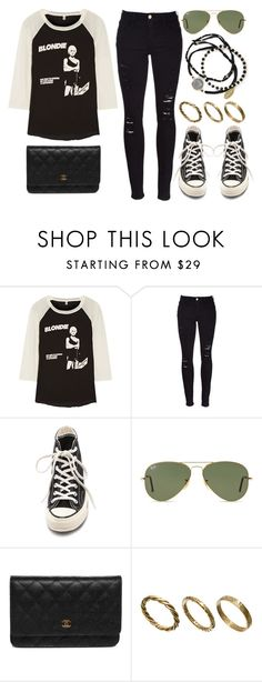 """Style #11106"" by vany-alvarado ❤ liked on Polyvore featuring R13, Frame Denim, Converse, Ray-Ban, Chanel, Made and Feather & Stone"