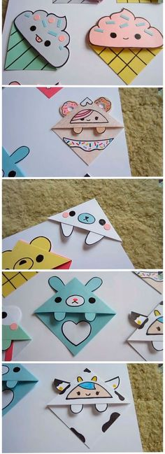 Origami - Marque Page kawaii Cute Diys, Cute Crafts, Diy And Crafts, Crafts For Kids, Diy Origami, Origami Folding, Origami Paper, Simple Origami, Origami Envelope