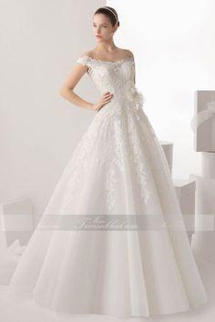 A-Linie Glänzendes Brautkleid mit V-Ausschnitt