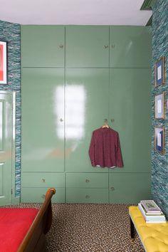 Leopard Print Carpet, Farrow & Ball Calke Green, Luke Edward Hall and Duncan Campbell's London Bedroom Printed Carpet, Bedroom Makeover, Hall Design, Hall Interior, Modern Carpet, Modern Carpets Design, Monochromatic Room, Farrow Ball, Edward Hall