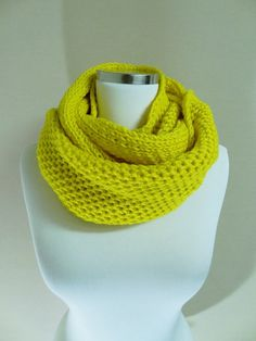 I like the style of this one  Yellow Knit Infinity Scarf, Hooded Cowl, Wool Blend Scarf, Men Women Scarf, Unisex Scarf, Warm Scarf, Loop Scarf, Winter Fashion