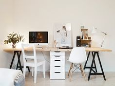 ikea trestle table + file cabinet = desk