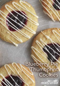 Thumbprint sugar cookies are baked with Marie Callenders® Blueberry Pie filling in the middle and then drizzled with melted white morsels Cookie Recipes, Dessert Recipes, Ginger Molasses Cookies, Baked Chips, Thumbprint Cookies, Glass Baking Dish, Sweet Desserts, Sugar Cookies, Yummy Treats