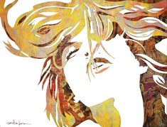 "Original Art, Female Figure in Mixed Media (handmade paper on paper) & metallic paint ""A New Awakening"" by Marcy Ann Villafaña Patrick Nagel, Paint Types, White Space, Detail Art, Metallic Paint, Custom Art, Figure Painting, Sea Creatures, Art Forms"