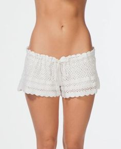 NATURAL BEAUTY SHORT // Fully lined hand crochet short with adjustable drawcord.