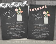 Mason Jar Bridal Shower Invitations  Floral by NotedOccasions, $30.00