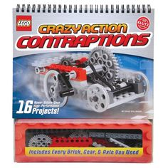 LEGO Crazy Action Contraptions - Clear instructions, step-by-step diagrams, 150 LEGO bricks and rubber bands, gears and axles. 16 projects that result in crazy contraptions that spin, stretch or speed. How about a Wall Rocket Racer or a Squeezeclaw Grabber? It's all here. Ages 7 and up. LEGO, the LEGO logo, the Brick, and the Knob configuration are trademarks of the LEGO Group. ©2008 The LEGO Group. Produced by Klutz under license from the LEGO Group.