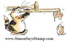 Penny Black Rubber Stamp Suspenseful Music Cat Mouse Trumpet ...