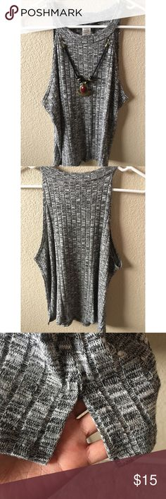 Cute top Light weight material. Has slits on the sides. Necklace attached. Smiley grey color Tops Blouses