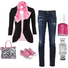"""Pink and Black"" by melissa-bachman on Polyvore"