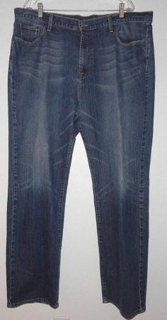 Lucky Brand Dungarees By Gene Montesano EUC Men 40X32 Boot Cut Blue Distressed